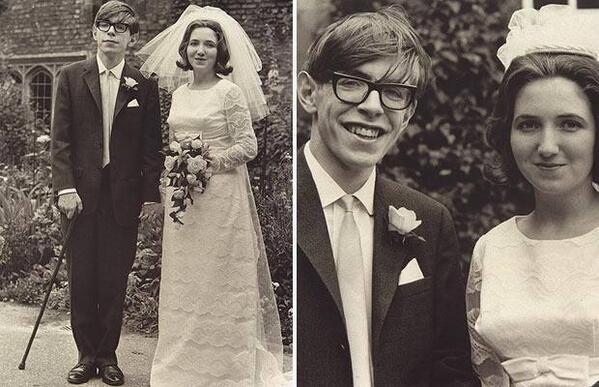 28. Stephen Hawking con su esposa Jane Wilde.