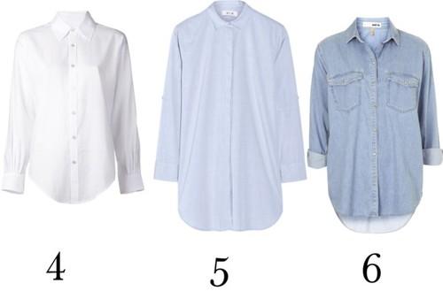 Una camisa blanca, una celeste, una de Jean.
