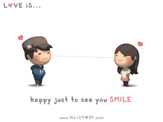25. Ser feliz con solo verte sonreír.