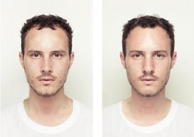 Para demostrarlo, sacó una foto del lado izquierdo de la cara de cada una de estas personas, y usó un efecto espejo para que quede simétrica
