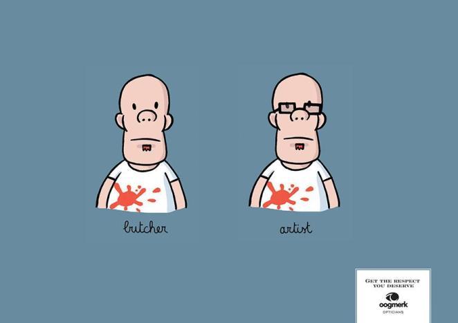 5. Con y sin lentes, desde otra perspectiva, anuncio para Oogmerk