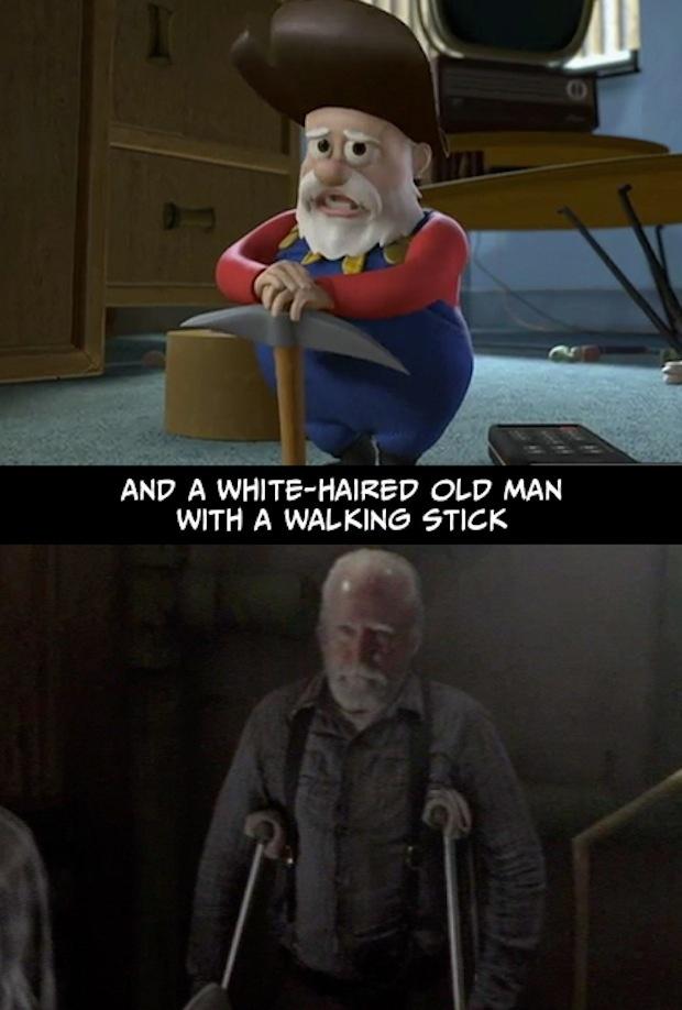 14. Y un viejo canoso, con un bastón.