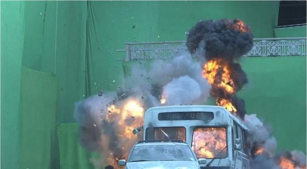 La mayoría de las escenas de acción se filmaron con obviamente, una pantalla verde.