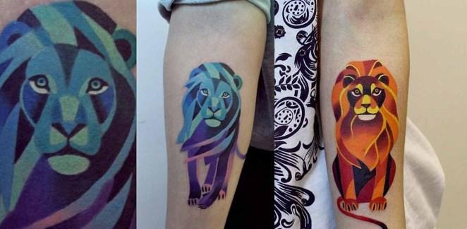 Uno de sus tatuajes más conocidos es el león de la izquierda