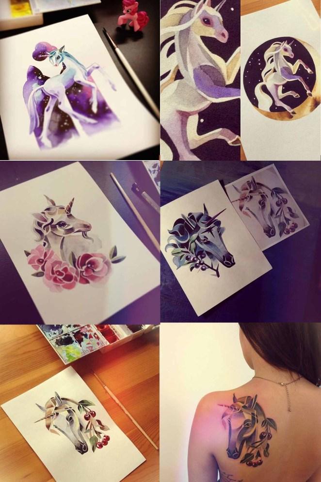 y también tatuajes de animales mitológicos como estos unicornios.