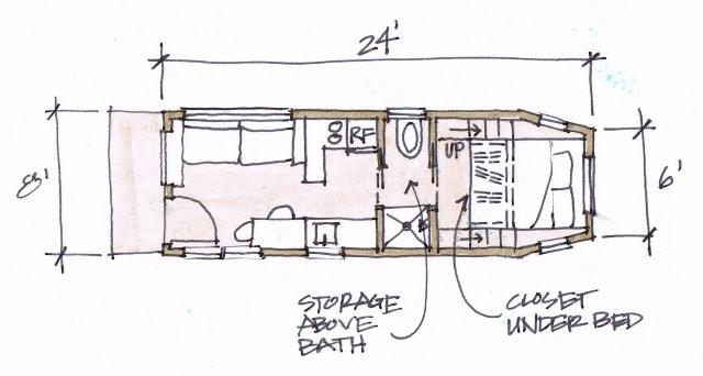2. Comparada con otras casas, 18 metros cuadrados puede parecer poco. Pero todo está pensado y acomodado para no ocupar lugares en vano, hechas por Clothesline Tiny Homes