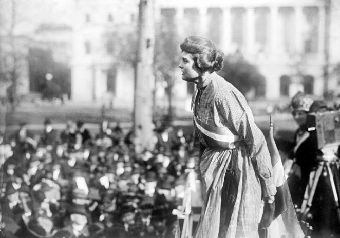Suffragette Lucy Branham speaks at a rally in Washington, DC, circa 1919.