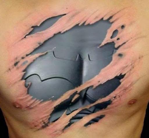 Batman 3d chest tattoo designs for men.
