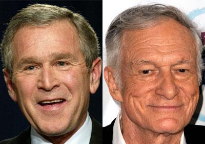 19. El fundador de Playboy, Hugh Hefner y el ex presidente de Estados Unidos, George W. Bush son primos por una rama materna lejana.