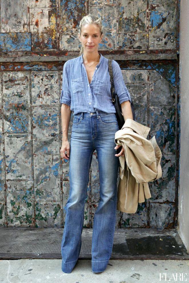 2. Camisa celeste desprendida con jeans oxford y suponemos que plataformas
