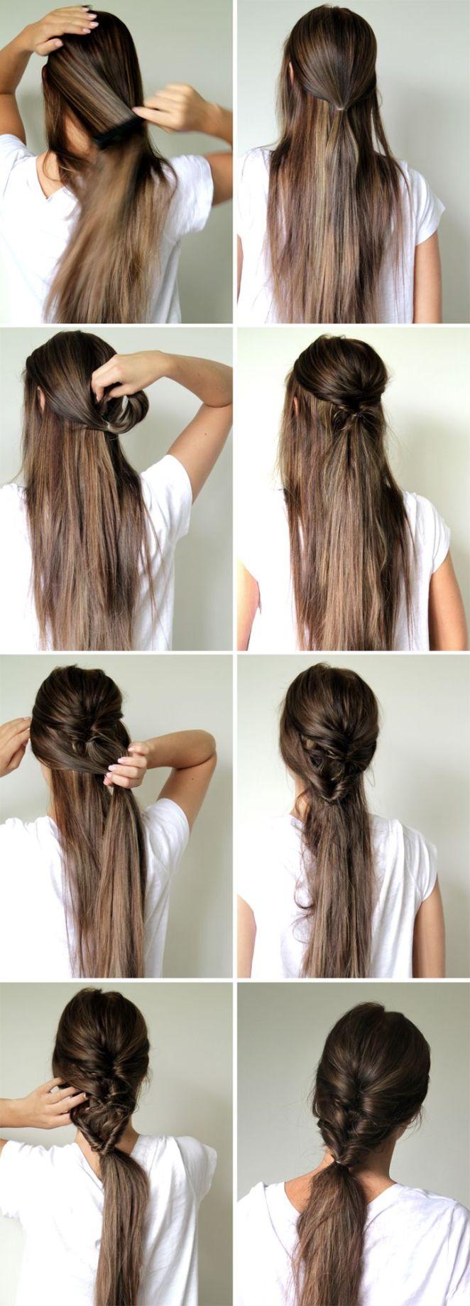 13. Se puede empezar con la misma técnica desde más arriba y lograr este peinado: