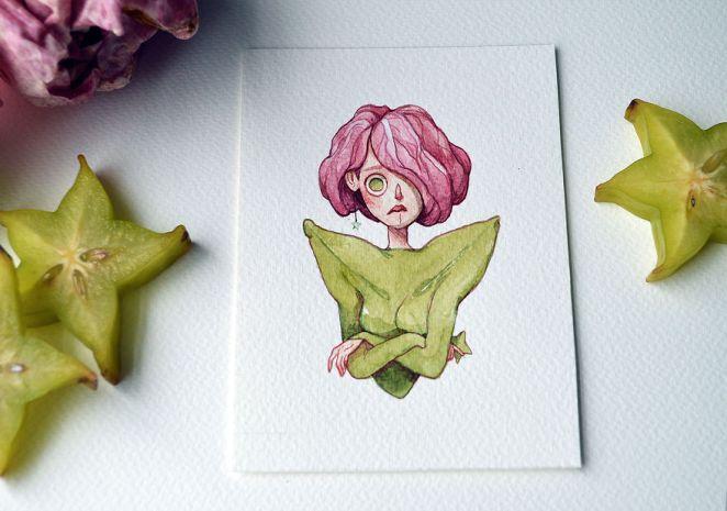 A Concerned Pink Lettuce And Star Fruit