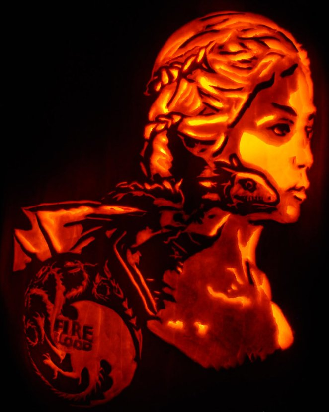 Dickover and his family often like to do current pop culture carvings like this one of Daenerys Targaryen from