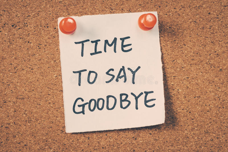 time-to-say-goodbye-message-pin-bulletin-board-64928665