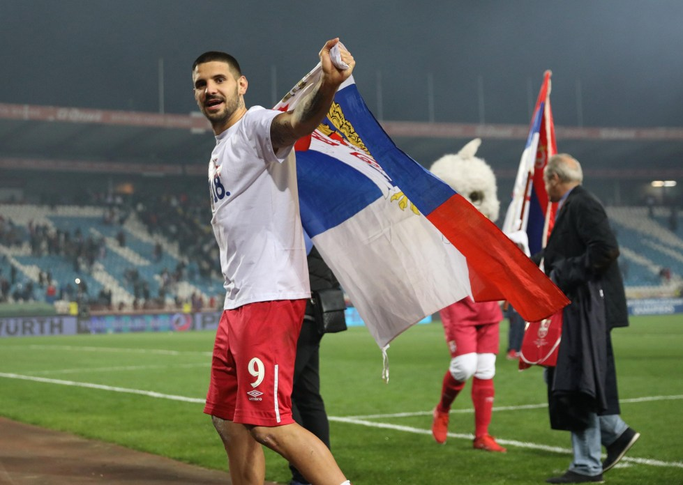 Serbia's Aleksandar Mitrovic celebrates World Cup qualification after the2018 World Cup Europe Qualification match between Serbia and Georgia, at Rajko Mitic Stadium, in Belgrade, Serbia, on October 9, 2017. Photo: Reuters