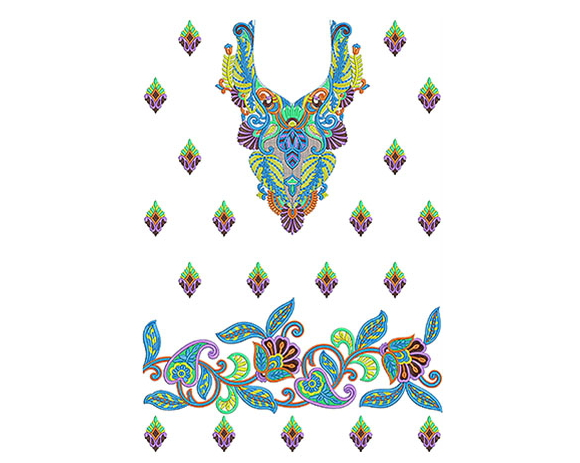 Fashion Peacock Feather Dress Embroidery Design