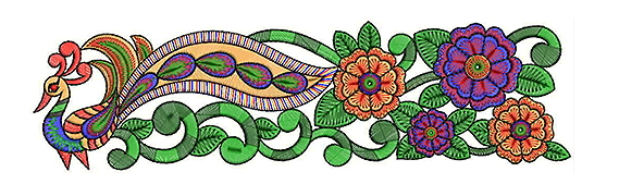 Peacock Lace Embroidery Design