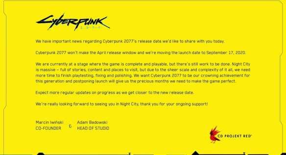 Das Statement der Cyberpunk 2077-Entwickler.