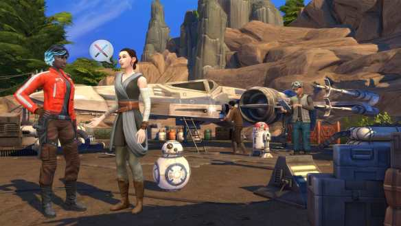 Unsere Sims treffen auf beliebte Charaktere aus dem Star Wars-Universum.