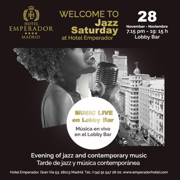 Cartel de jazz y música en vivo en el Hotel Emperador