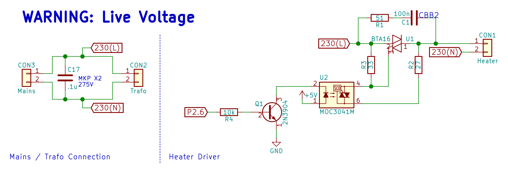 hight resolution of mains connection and heater driver