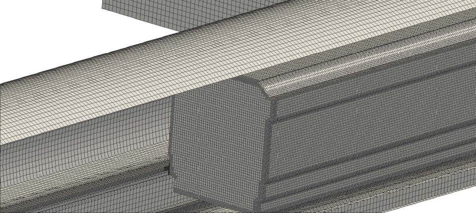 Surface mesh of the train and tunnel