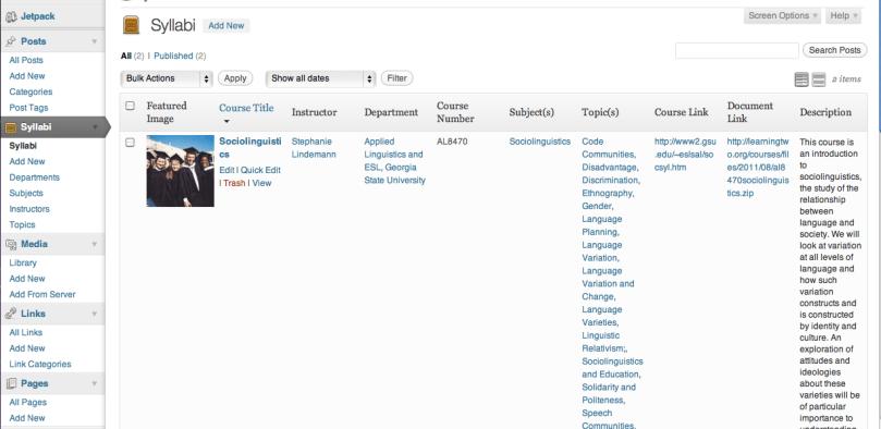 Administration Page (Screenshot)