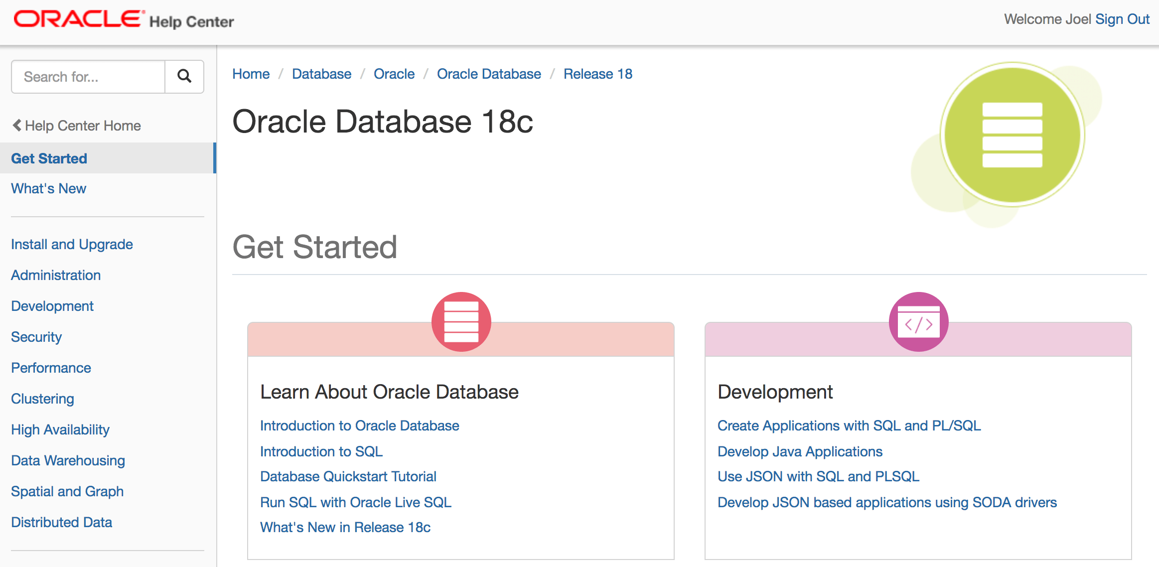 Oracle Database 18c Documentation Library   Available  !! – Enmotech
