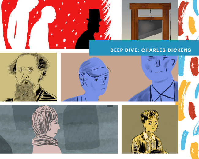 A collage of Charles Dicken's greatest works: A Christmas Carol, A Tale of Two Cities, David Copperfield, Great Expectations, and Oliver Twist