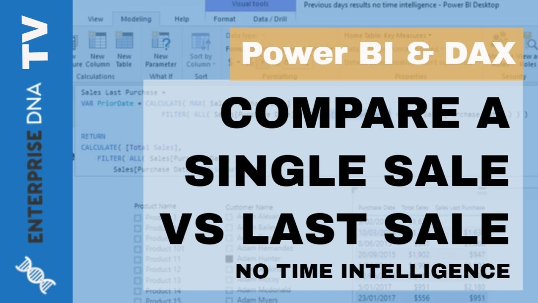 Compare One Sale Versus The Last Sale (No Time Intelligence)