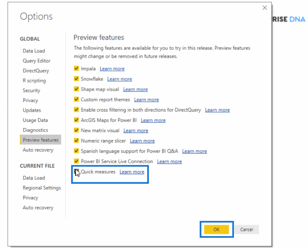 turning on quick measures feature in Power BI-step 2
