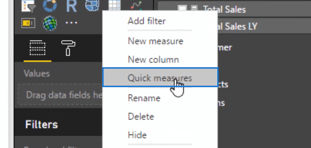 selecting quick measures