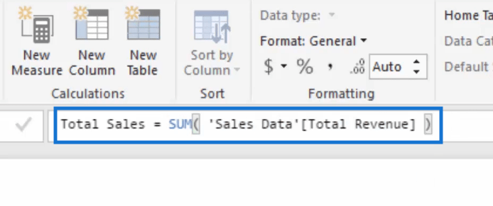 total sales summing up the total revenue