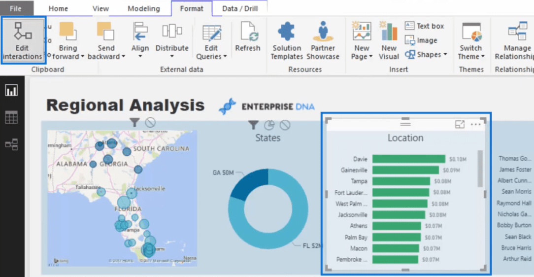 option to edit interactions of your visuals in power bi
