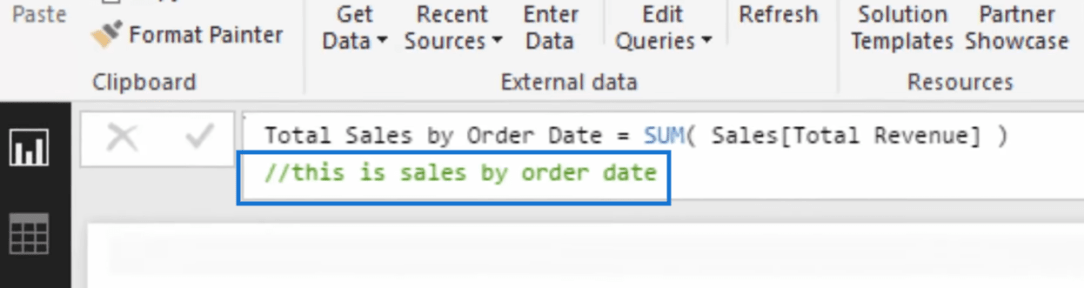 adding comment to specify which date in power bi