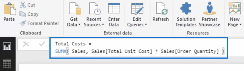 total costs using iterating function