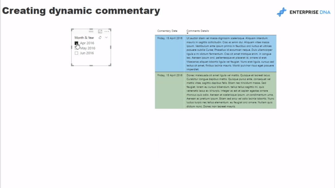 Creating Dynamic Commentary on Power BI Dashboard