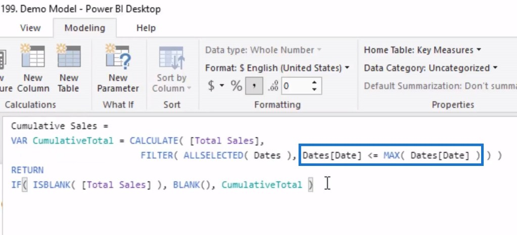 Comparison of dates to the MAX date as part of the Cumulative total in Power BI DAX pattern