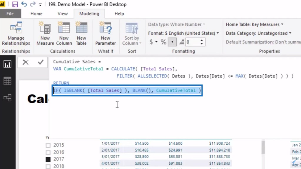 ISBLANK function as part of the IF logic in Power BI DAX pattern