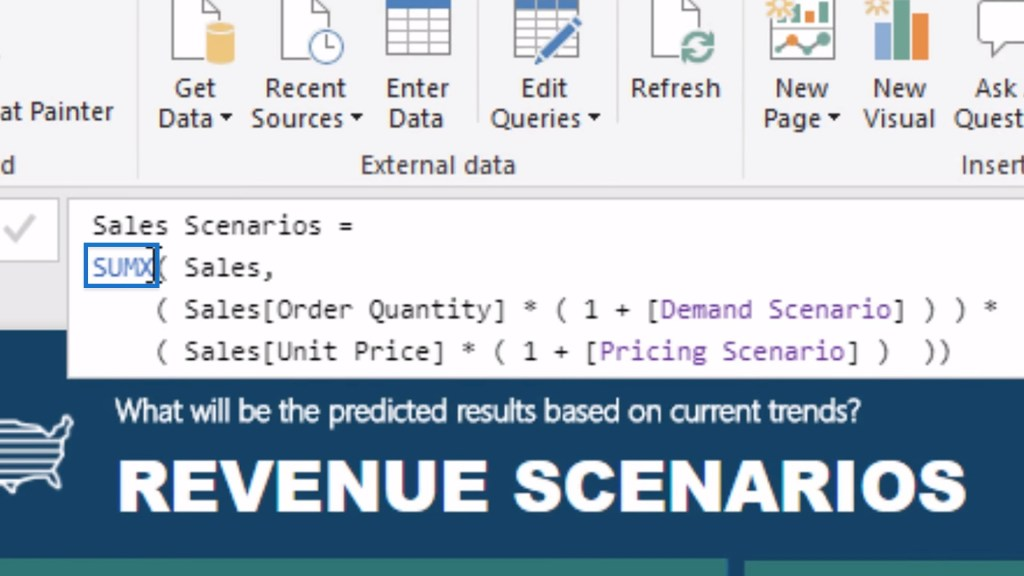 Sample usage of an iterating function when implementing scenario analysis using What If Parameters in Power BI
