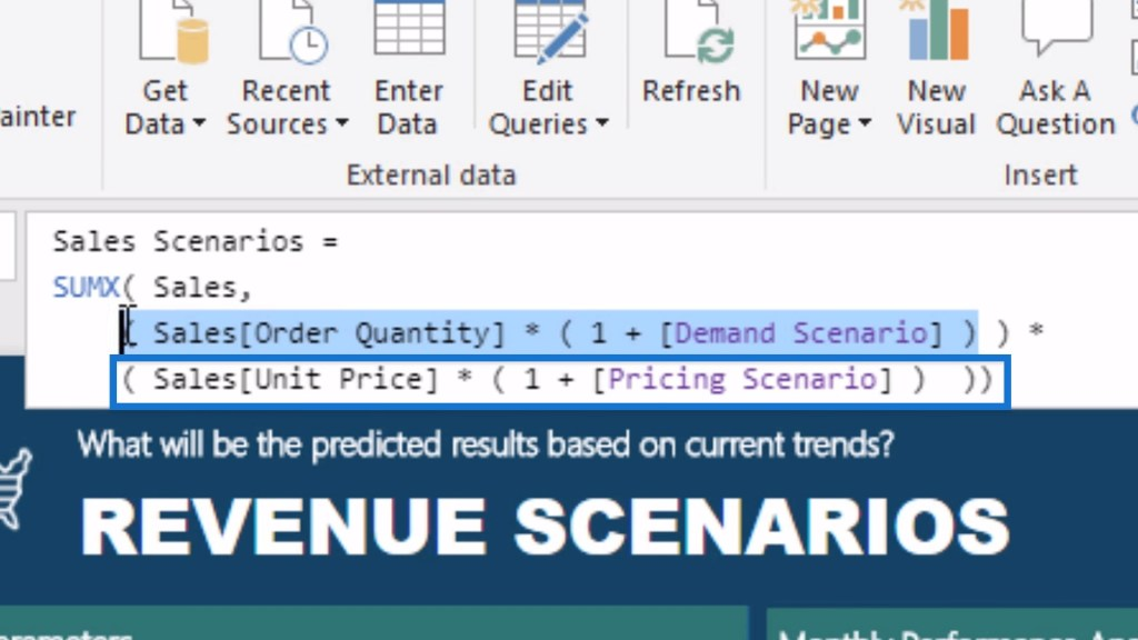 Sample logic for implementing a scenario analysis using What If Parameters in Power BI