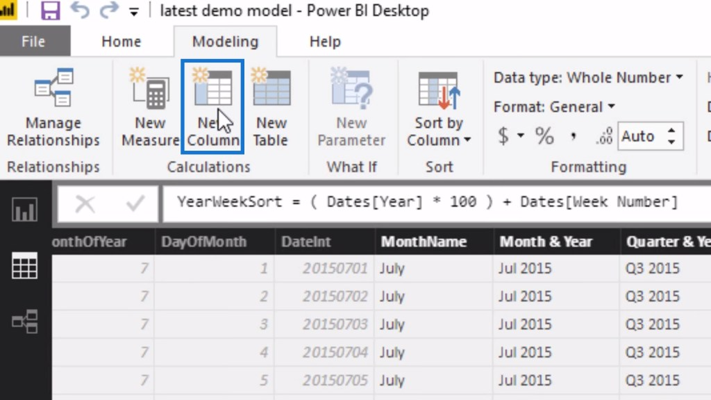 New Column option within Modeling tab in Power BI