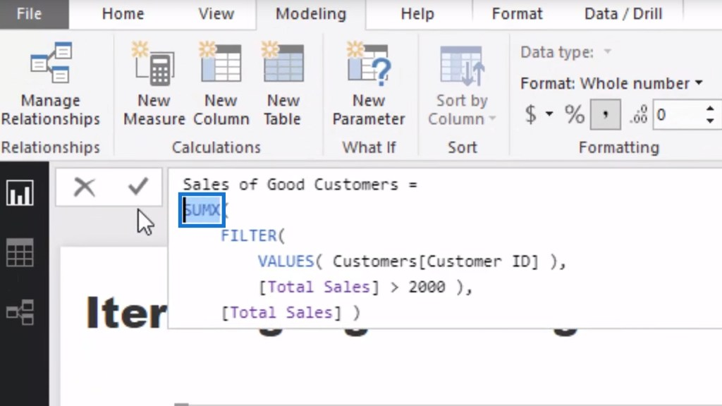 using SUMX function for calculating the Sales of Good Customers