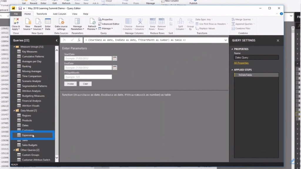 expenses query under the data model