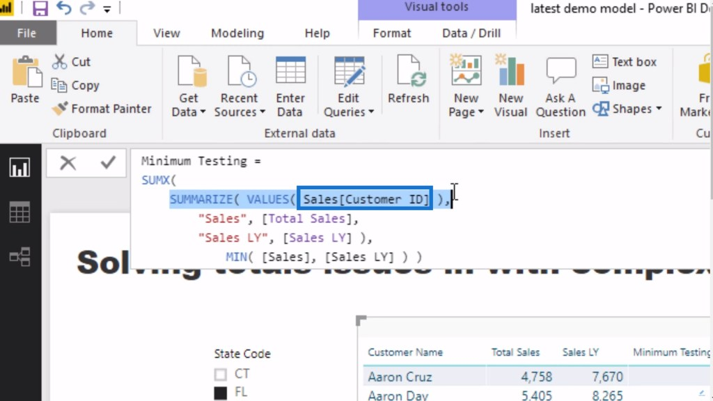 creating table for every single customer within the DAX measure