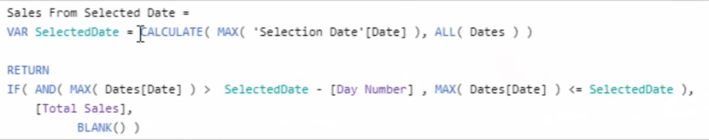 selected date