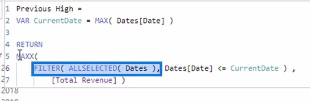 using the virtual table of dates within the FILTER DAX function