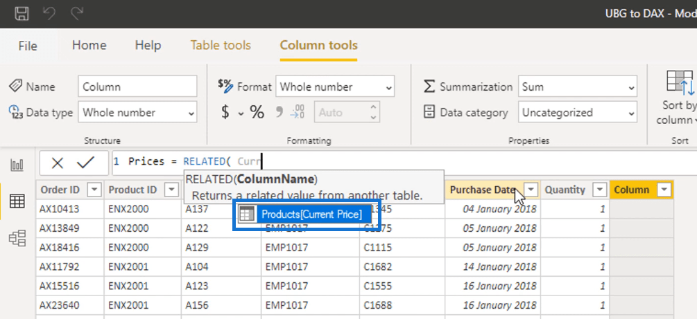 RELATED function - Power BI Calculated Column vs Measure