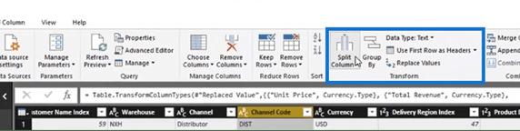 accessing Power BI Query transformations via the Transform ribbon.