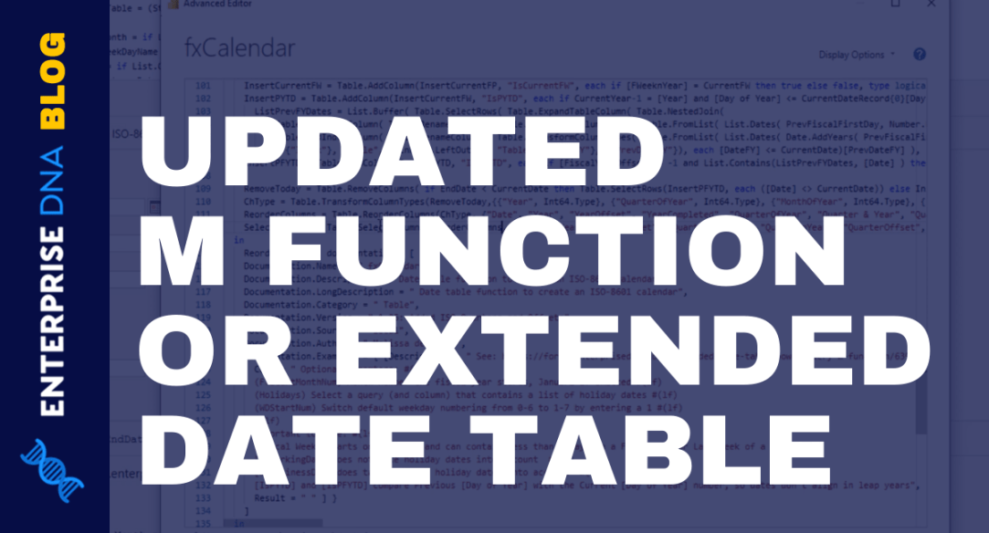 Extended Date Table Power Query M Function